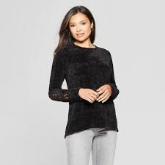 Knox Rose Black Chenille Lace Inset Sleeve Sweater